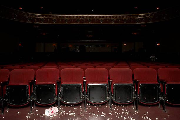 Theatre auditorium with popcorn on floor
