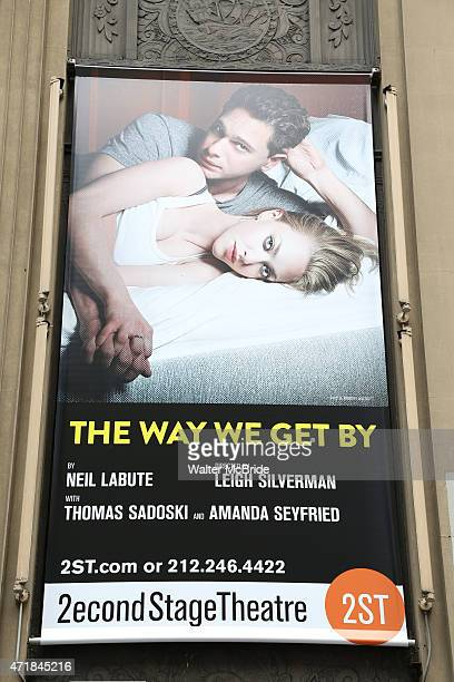 Theatre Billboard Marquee for Playwright Neil LaBute Amanda Seyfried Thomas Sadoski and director Leigh Silverman attending the 'The Way We Get By'...