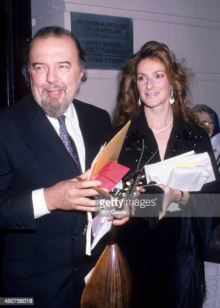 Theatre director Peter Hall and guest attend the 'Orpheus Descending' Broadway Play Opening Night on September 24 1989 at the Neil Simon Theatre in...