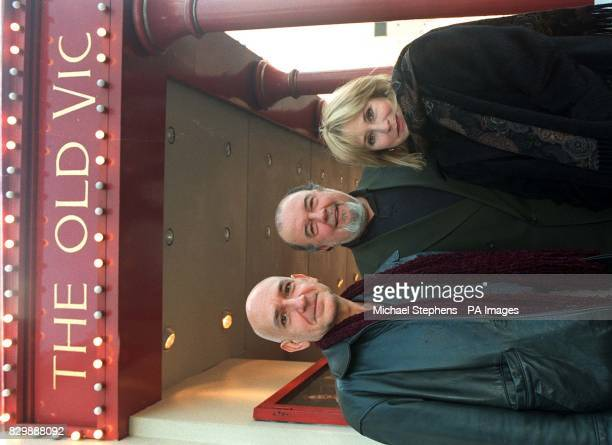 Theatre director Sir Peter Hall centre is joined by actors Ben Kingsley and Felicity Kendal outside The Old Vic theatre in London today for the...