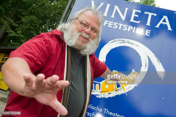 Theatre director Wolfgang Bordel standing in front of the Vineta festival stage on the beach of Zinnowitz, Germany, 5 July 2016. The Vineta festival...