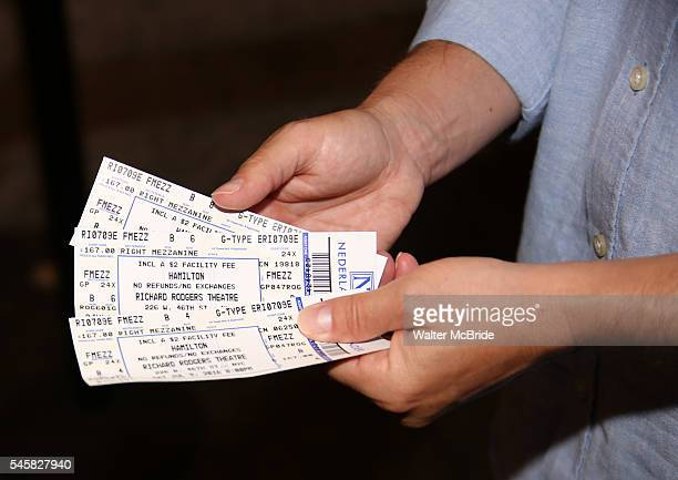 Theatre goer with tickets outside the theatre for the final performance of LinManuel Miranda in 'Hamilton' on Broadway at Richard Rodgers Theatre on...