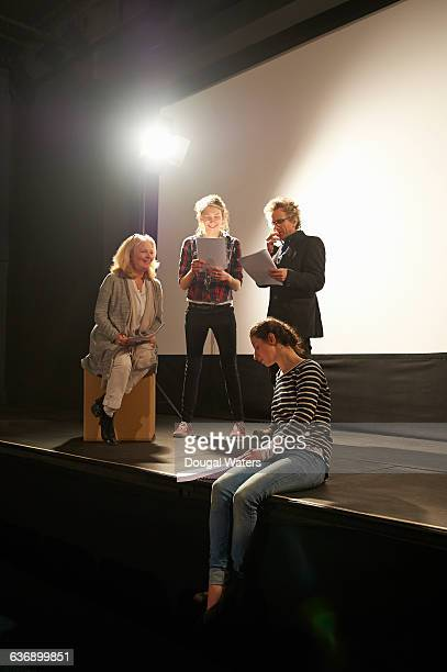 theatre group learning script on stage. - acting stock pictures, royalty-free photos & images