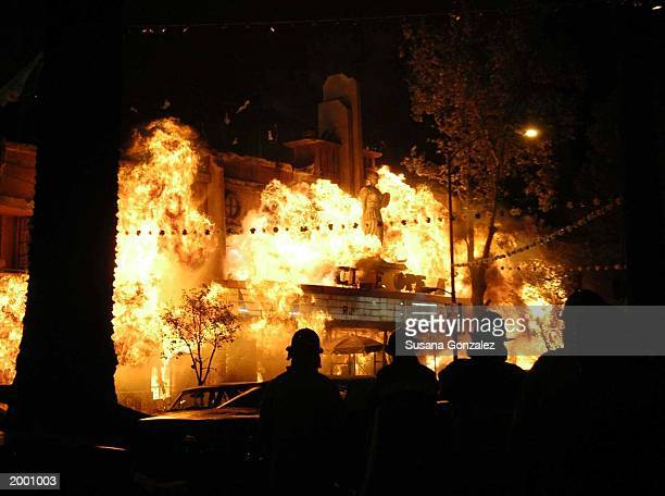 A theatre is set ablaze during filming for the movie Man on Fire which stars Denzel Washington May 15 2003 in Mexico City