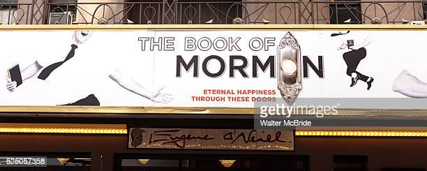 Theatre Marquee at the Broadway Opening Night Gypsy Robe for 'The Book Of Mormon' and the Gypsy Robe recipient Michael James Scott at The Eugene...