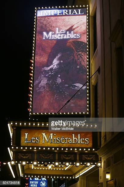 Theatre Marquee for 'Les Miserables' at The Imperial Theatre on February 25 2014 in New York City The cast includes Ramin Karimloo in his Broadway...