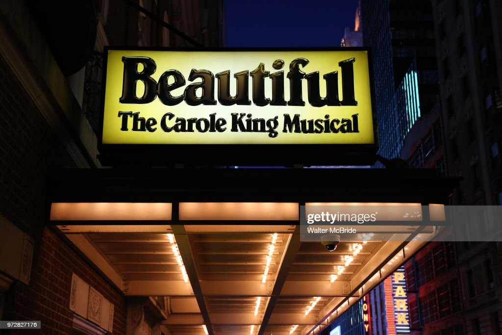 Theatre Marquee for Melissa Benoist on her opening night debut in 'Beautiful-The Carole King Musical' at the Stephen Sondheim on June 12, 2018 in New York City.