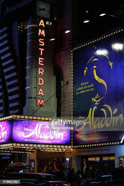 Theatre Marquee for the 'Aladdin' On Broadway Opening Night at New Amsterdam Theatre on March 20 2014 in New York City