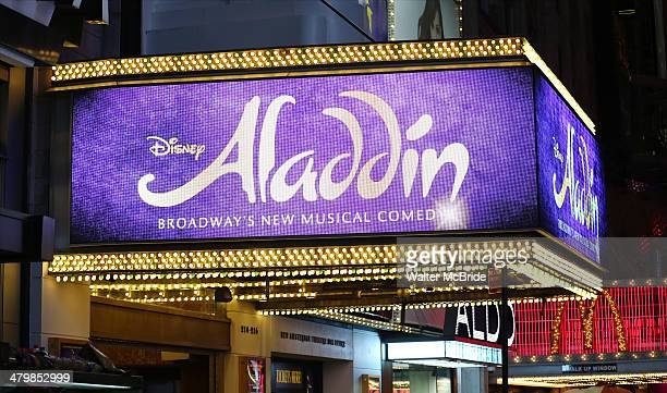 Theatre Marquee for the Aladdin On Broadway Opening Night at New Amsterdam Theatre on March 20 2014 in New York City