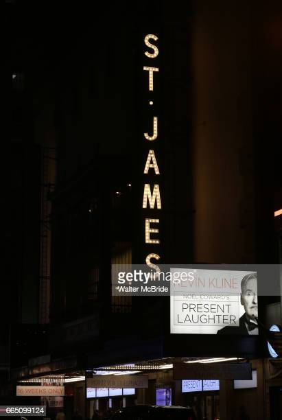 Theatre Marquee for the Broadway opening night curtain call for 'Present Laughter' starring Kevin Kline at the St James Theatre on April 5 2017 in...