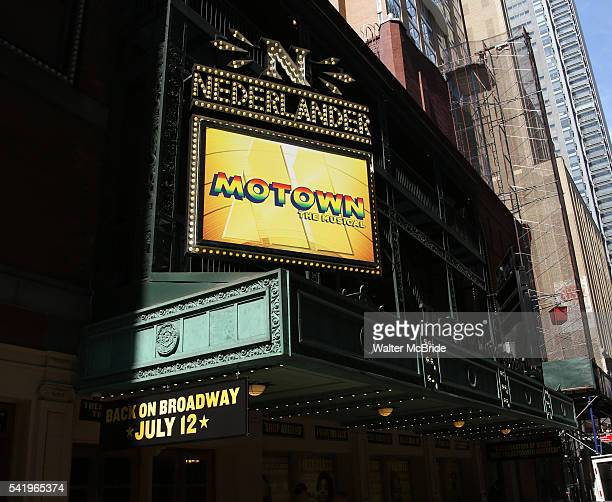 Theatre Marquee for The return of 'Motown' on Broadway at the Nederlander Theatre on June 21, 2016 in New York City.