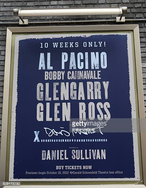 Theatre Marquee unveiled for David Mamet's Glengarry Glen Ross starring Al Pacino Bobby Cannavale in this production from director Daniel Sullivan at...