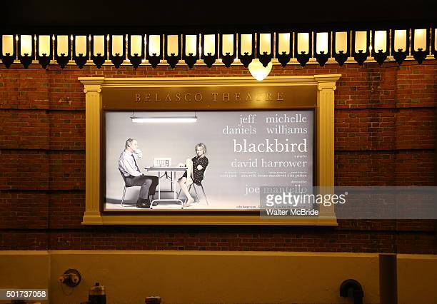Theatre Marquee unveiling for Jeff Daniels and Michelle Williams starring on Broadway in the David Harrower play 'Blackbird' directed by Joe Mantello...