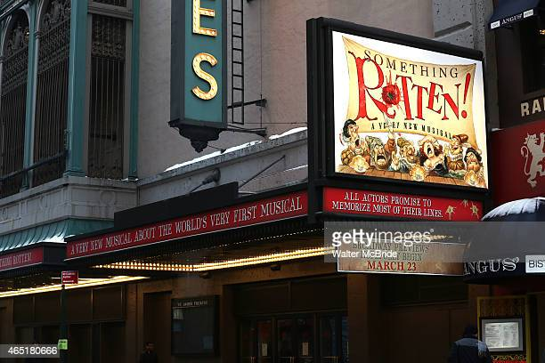 Theatre Marquee unveiling for 'Something Rotten' a worldpremiere musical comedy about the musical comedy that started it all at the St James Theatre...