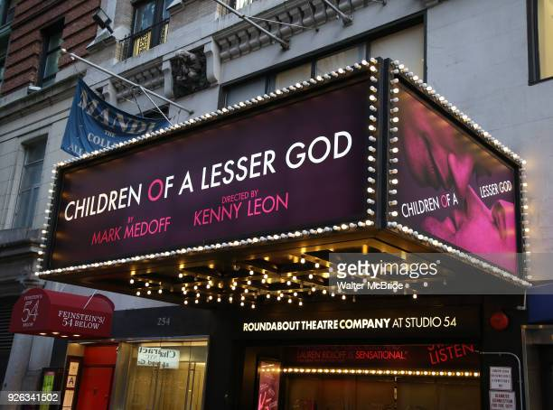 Theatre Marquee unveiling for the Broadway revival of Children of a Lesser God directed by director Kenny Leon and starring Joshua Jackson Lauren...