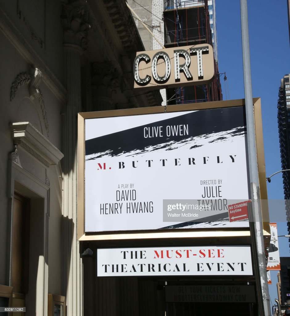 Theatre Marquee unveiling for the David Henry Hwang play 'M. Butterfly' directed by Julie Taymor and starring Clive Owen at The Cort Theatre on August 16, 2017 in New York City.