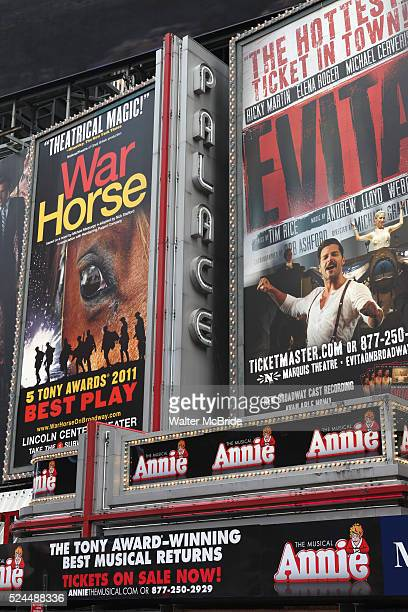 Theatre Marquee unveiling for the revival of the musical 'Annie' at Broadway's Palace Theatre Sharing Advertising Real Estate is also 'War Horse'...