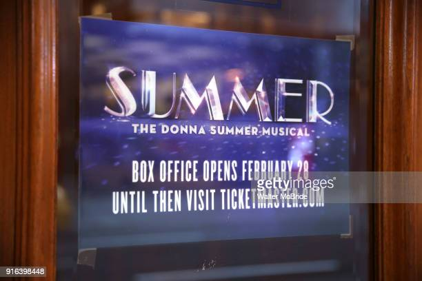 Theatre marquee unveiling for the 'Summer The Donna Summer Musical' starring LaChanze Ariana DeBose and Storm Lever on February 9 2018 at the...