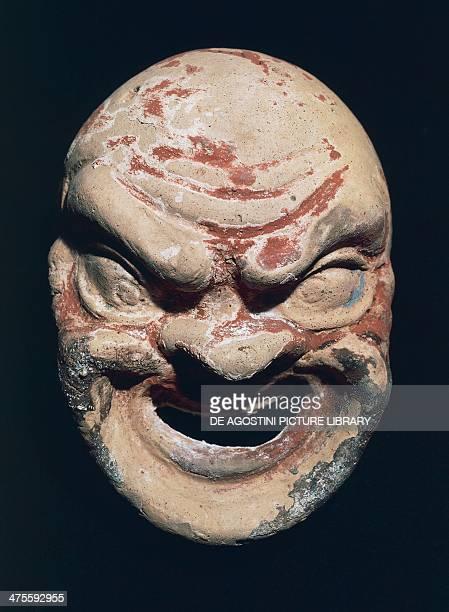Theatre mask, terracotta. Etruscan civilisation, 3rd century BC. Tarquinia, Museo Archeologico