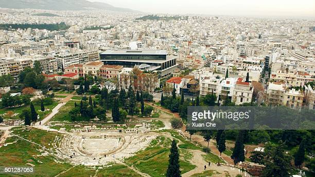 theatre of dionysus, acropolis museum - xuan che stock pictures, royalty-free photos & images