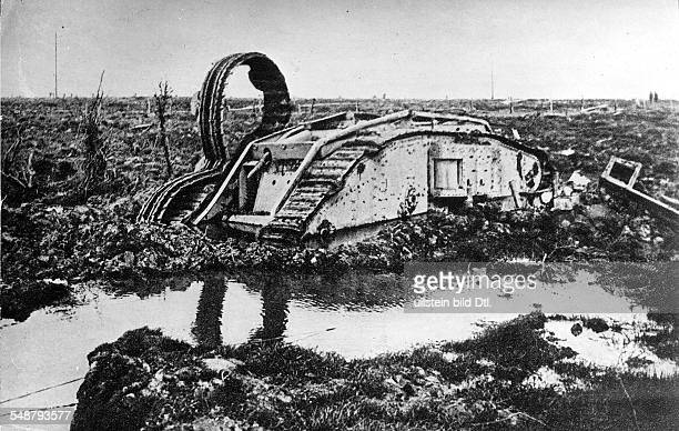 1WW Theatre of war allied side France/Belgium Flanders Battle of 3 Ypres British Mark IV tank stuck in the mud following combat at St Julien Belgium...