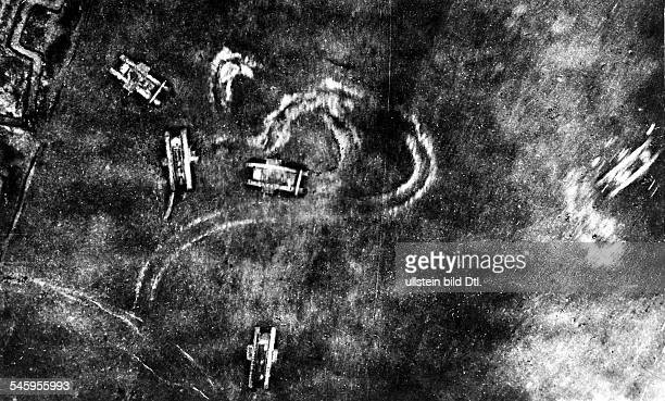 1WW Theatre of war Tank battle of Cambrai 20Nov15Dec1917 Aerial view taken from a german airplane British tanks during the battle 1917