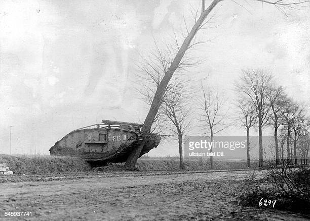 1WW Theatre of war western front 1917 Battle of Cambrai 2011 A captured fully functional british Mark IV tank on its way to railway transport station...