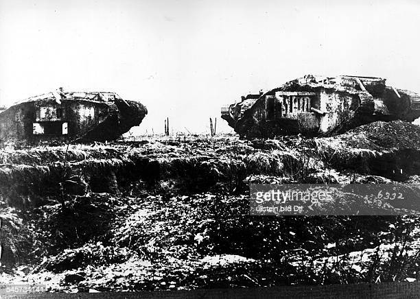 1WW Theatre of war western front 1917 Battle of Cambrai 2011 abandoned captured british tanks Mark IV ahead of Bourlon December 1917