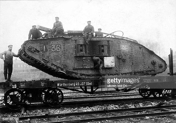 1WW Theatre of war western front 1917 Battle of Cambrai 2011 After the battle British tanks recovered from battlefield on 1212 are loaded on lowbed...
