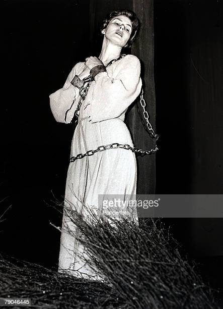 19th October 1954 Swedish actress Ingrid Bergman rehearsing at a London Theatre for her starring role in 'Joan of Arc'
