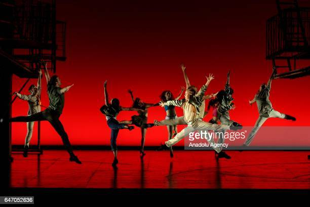 Theatre players perform on the stage of American musical West Side Story for the press members in Zorlu Performing Art Center in Istanbul Turkey on...