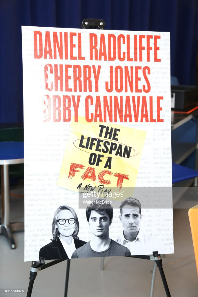 Theatre Poster signage during the cast photo call for 'The Lifespan of a Fact' at the New 42nd Street Studios on September 6, 2018 in New York City.