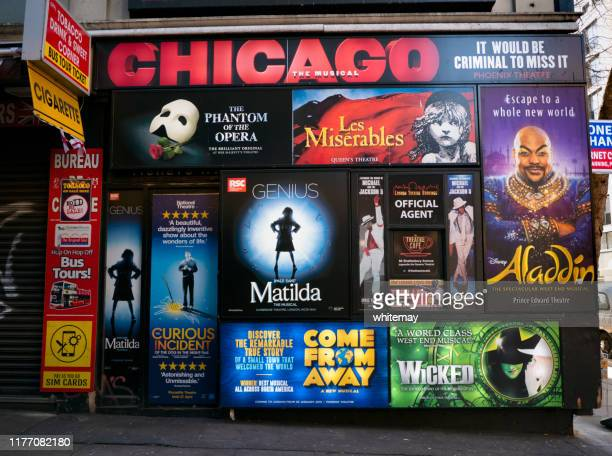 theatre posters on a wall in london - west end london stock pictures, royalty-free photos & images