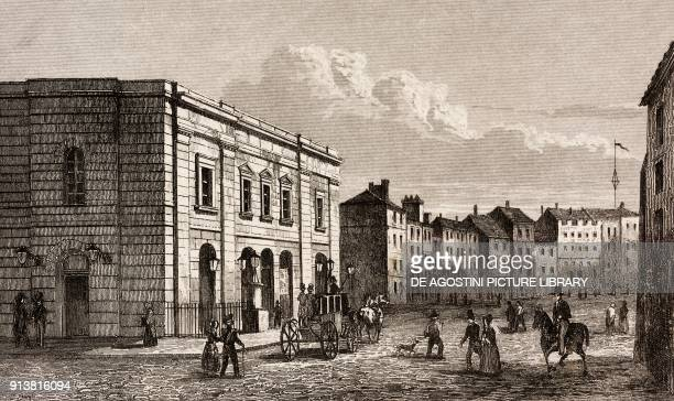 Theatre Royal Drury Lane London England United Kingdom engraving by Lemaitre from Angleterre Ecosse et Irlande Volume IV by Leon Galibert and Clement...