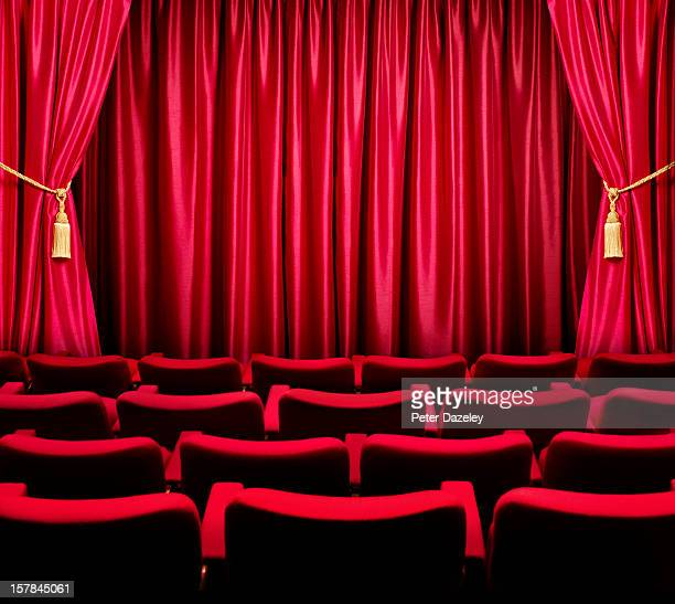 theatre seats facing a closed curtain - curtain stock pictures, royalty-free photos & images