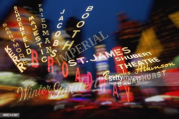 theatre signs around broadway - broadway stock pictures, royalty-free photos & images