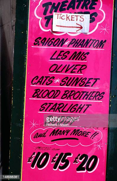 theatre ticket sign in leicester square - london, greater london, england - greater london imagens e fotografias de stock