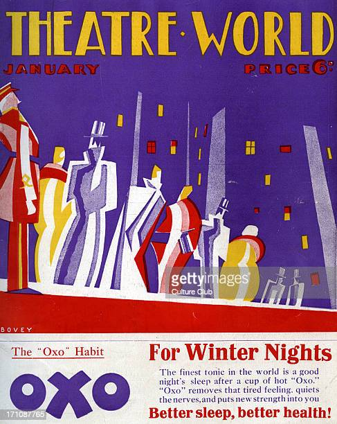 Theatre World cover January1927 Twenties theatre goers in top hand with doorman in front of the theatre Graphics by Bovey
