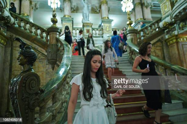 Theatregoers are pictured at the Municipal Theatre in Rio de Janeiro Brazil on the second night of a Ballet production on June 24 2018 In 2017 the...