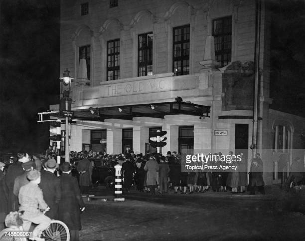 Theatregoers outside The Old Vic theatre on the corner of The Cut and Waterloo Road in Lambeth London for a performance of Hugh Hunt's production of...