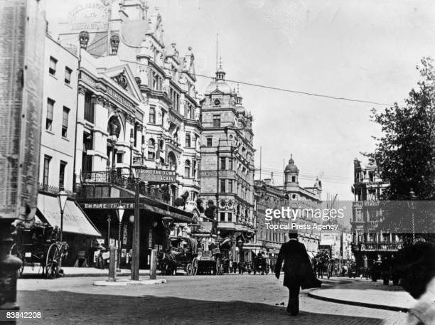 Theatres in London's Leicester Square 1900 The Empire Theatre is on the left