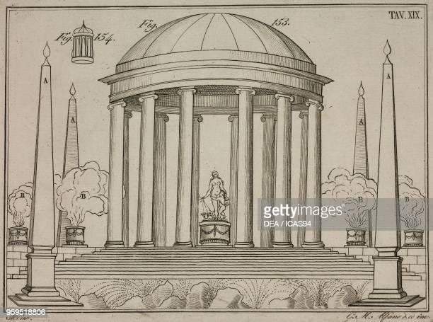 Theatrical arrangement of fire displays copperplate engraving by Gaetano M Alfano from Istituzioni di Pirotecnica per istruzione di coloro che...