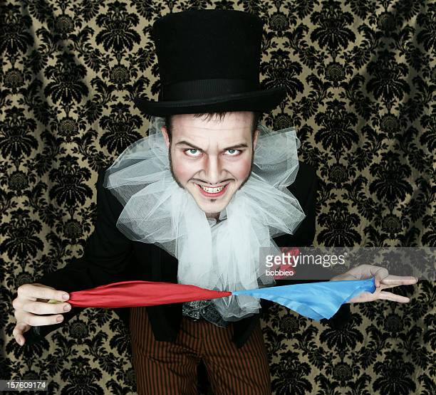 Theatrical magician with scarves