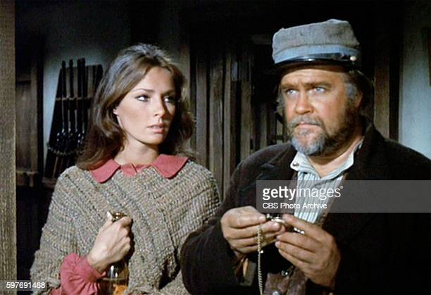 LOBO theatrical movie originally released December 18 1970 Film directed by Howard Hawks Pictured left to right Jennifer O'Neill and David Huddleston...