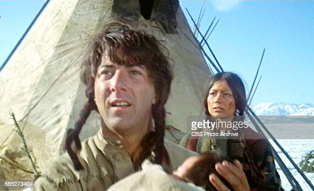 MAN theatrical movie originally released December 23 1970 The film directed by Arthur Penn Pictured left to right Dustin Hoffman and Aimee Eccles...