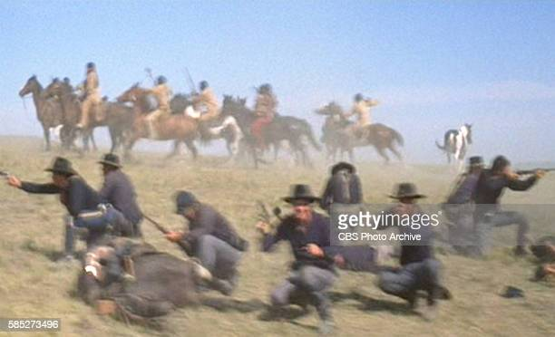 MAN theatrical movie originally released December 23 1970 The film directed by Arthur Penn Pictured in foreground the Cavalry at the Battle of the...