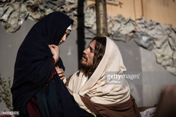 Theatrical performance of the passion of the Christ in the SantIsidoro Church during Holy Thursday in Palermo Sicily on March 29 2018