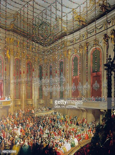 Theatrical performance on the occasion of the marriage of Joseph II of Austria to Maria Isabella of Parma October 6 painting by Martin van Meytens...