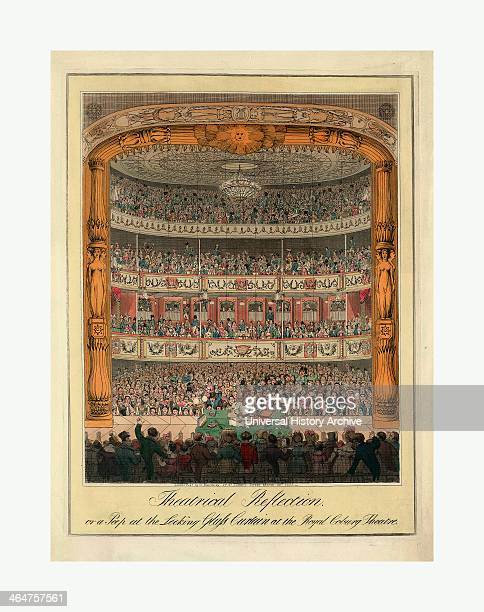 Theatrical Reflection Or A Peep At The Looking Glass Curtain At The Royal Coburg Theatre Engraving 1820 The Mirrored Curtain Reflecting The Audience...