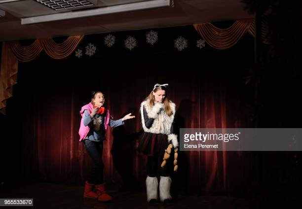theatrical school, a teenage girls plays the role of a witch in a fairy tale - actor stock pictures, royalty-free photos & images